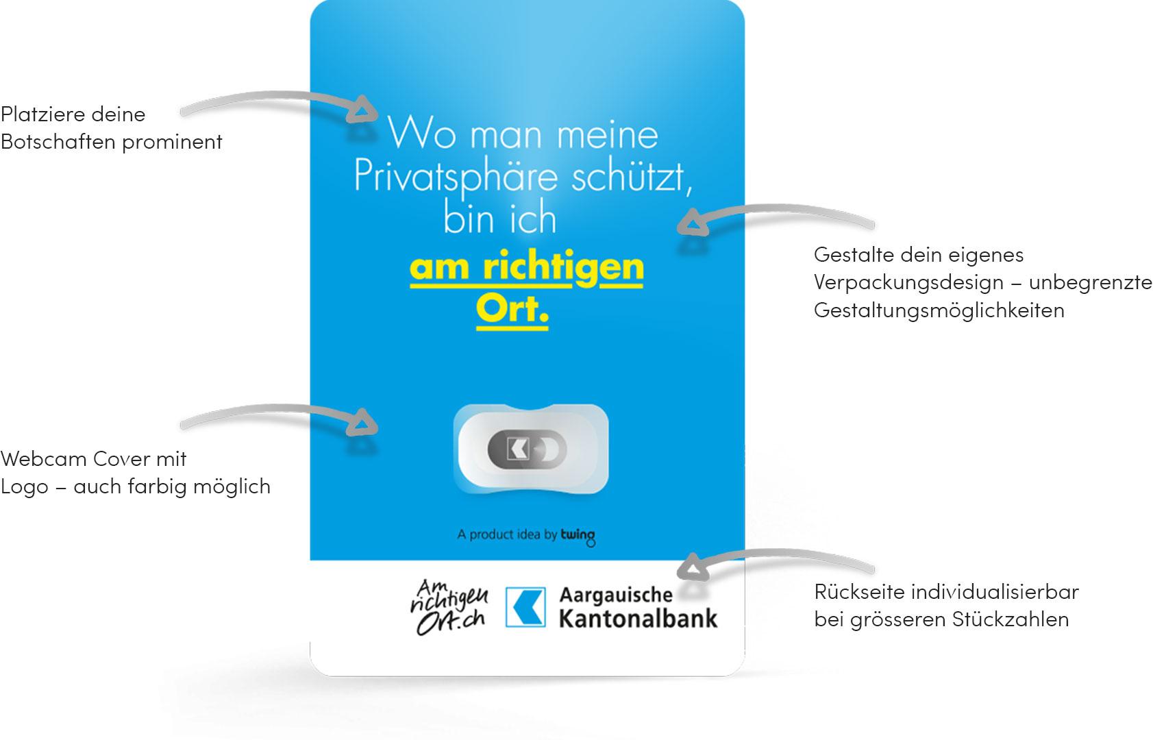 Twing Webcam Cover: Eigenes Verpackungsdesign möglich. Nur bei Twing: Webcam Abdeckungen mit CI/CD Verpackungsdesign.